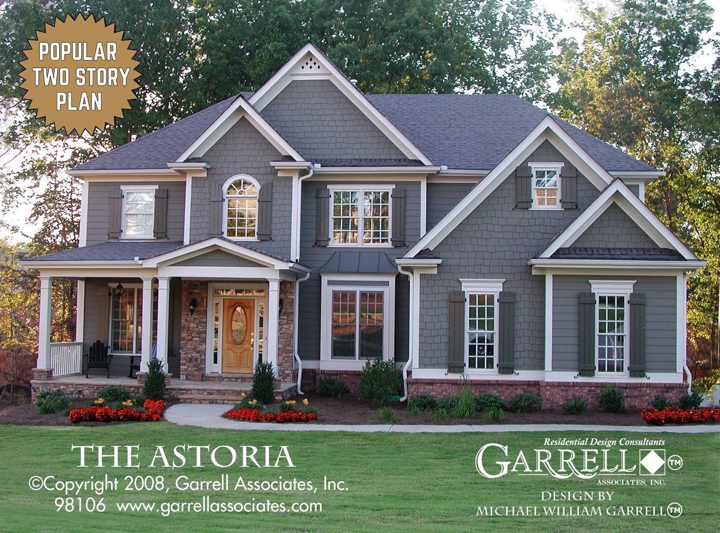 Astoria house plan 98106 front elevation traditional for Conventional house style