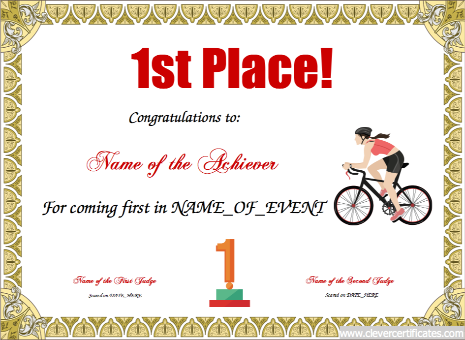1st Place. Free Certificate Templates For Kids, Sport And Community Groups.  Youu2026  First Place Award Template