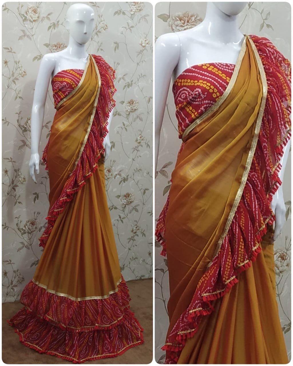 Photo of Items similar to Chiffon saree, orange saree, red saree, ruffle bandhej saree, designer saree, indian saree, beautiful saree, saree for women on Etsy