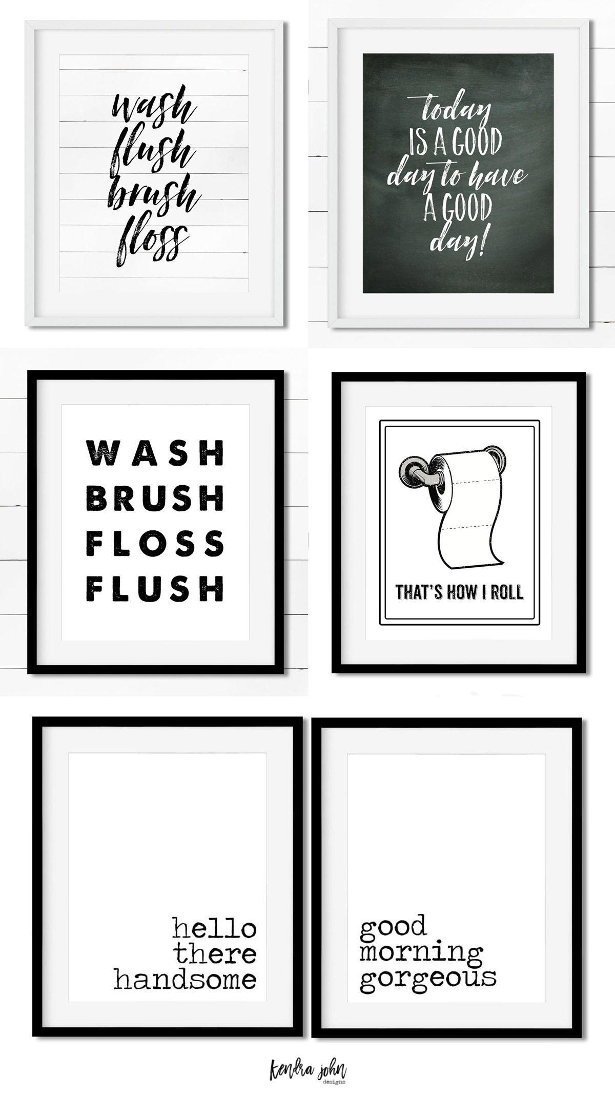 10 Free Black And White Bathroom Printables Kendra John Designs