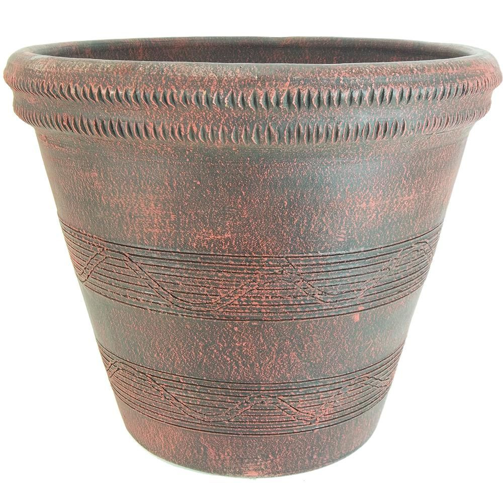 Dia Dark Red Clay Colonial Outdoor Planter