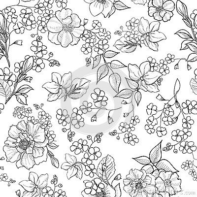 Floral Seamless Background Flower Pattern Flourish Wallpaper Colorful Art Flower Drawing Coloring Book Art