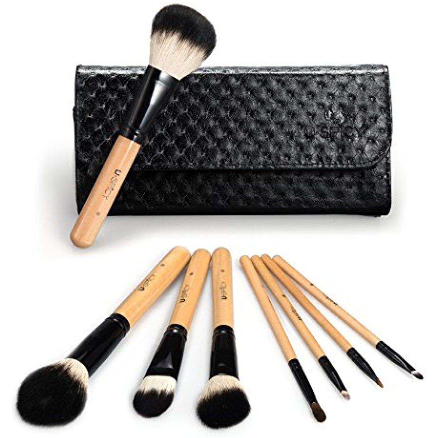 USpicy 8 Pieces Makeup Brushes Wooden Handle Make Up Brush