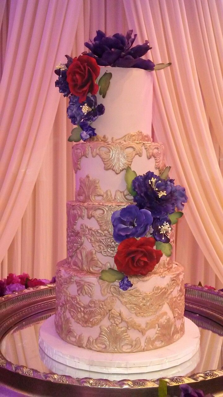 Champagne Gold Fondant Filigree Wedding Cake Purple And Red Sugar