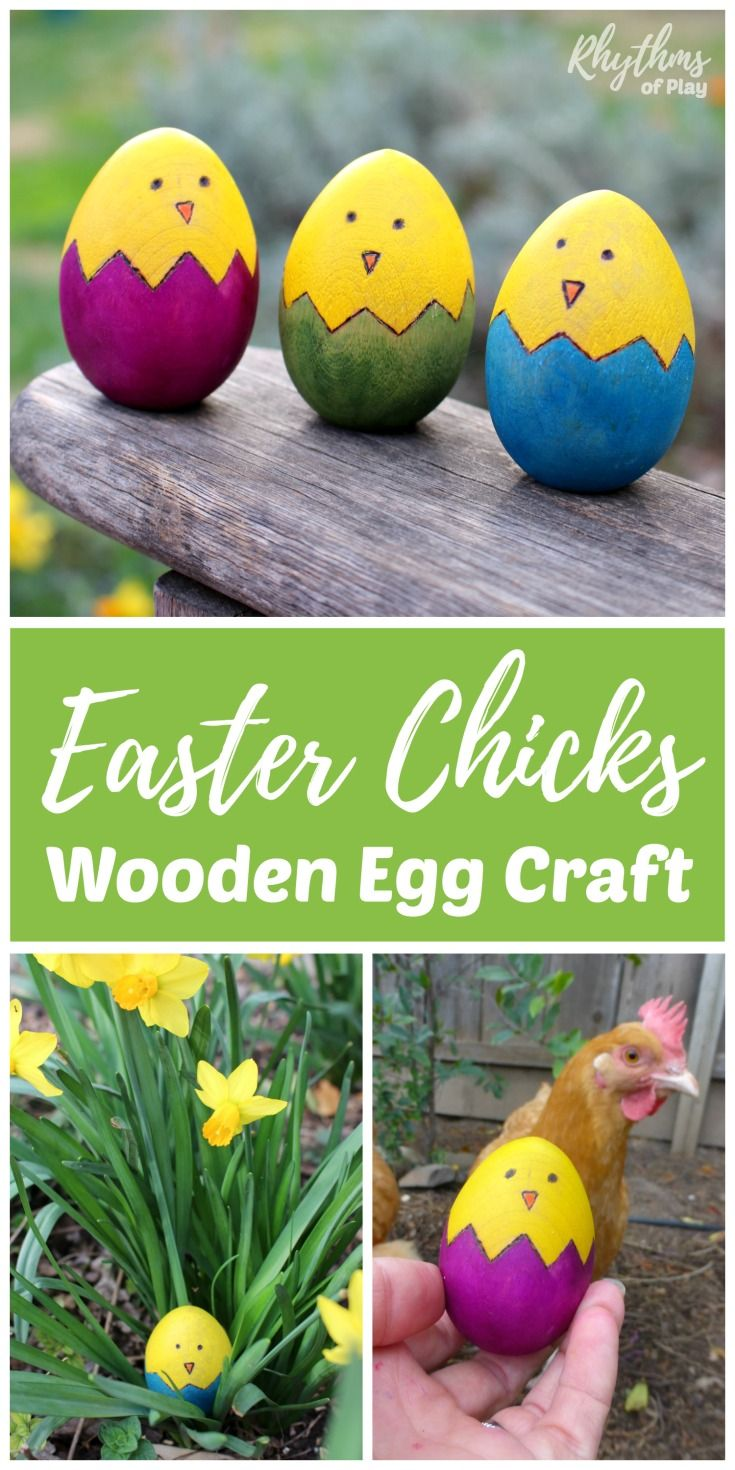 Easter crafts for seniors - Easter Chicks Wooden Egg Craft Is A Fun And Easy Rustic Spring Diy Project Kids