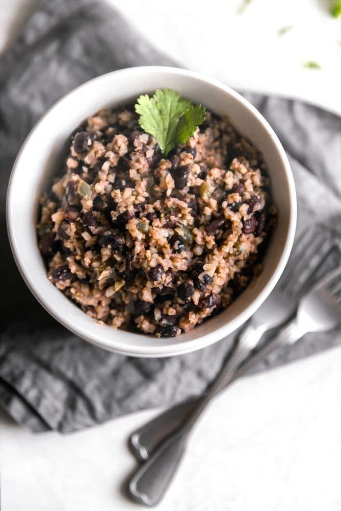 Cauliflower Congri (Cuban-Style Black Beans & Cauliflower Rice) #cubanrice