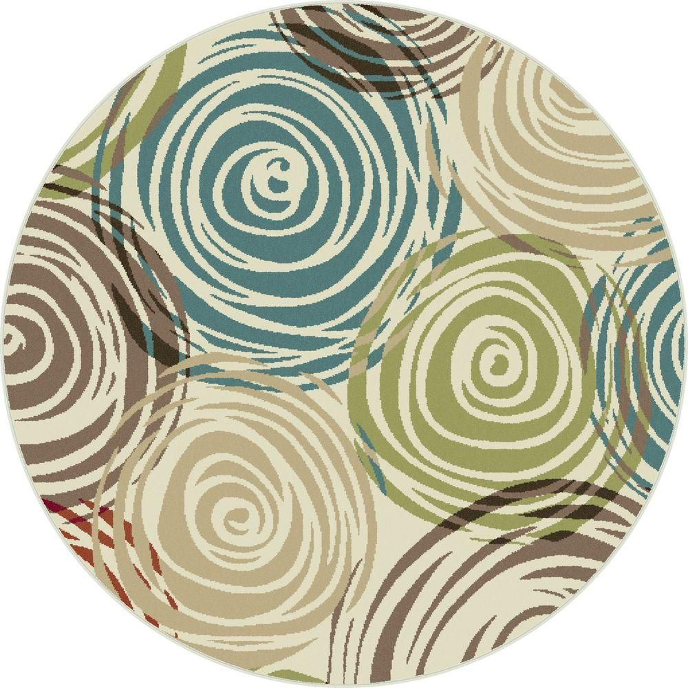 Tayse Rugs Deco Ivory 8 Ft Contemporary Round Area Rug Dco1016 8rnd Area Rugs Round Area Rugs Quality Area Rugs