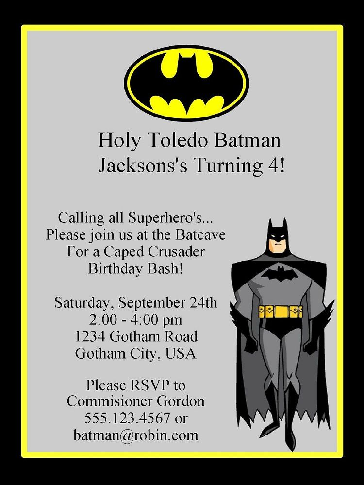 Batman Birthday Invitations Invitation Template