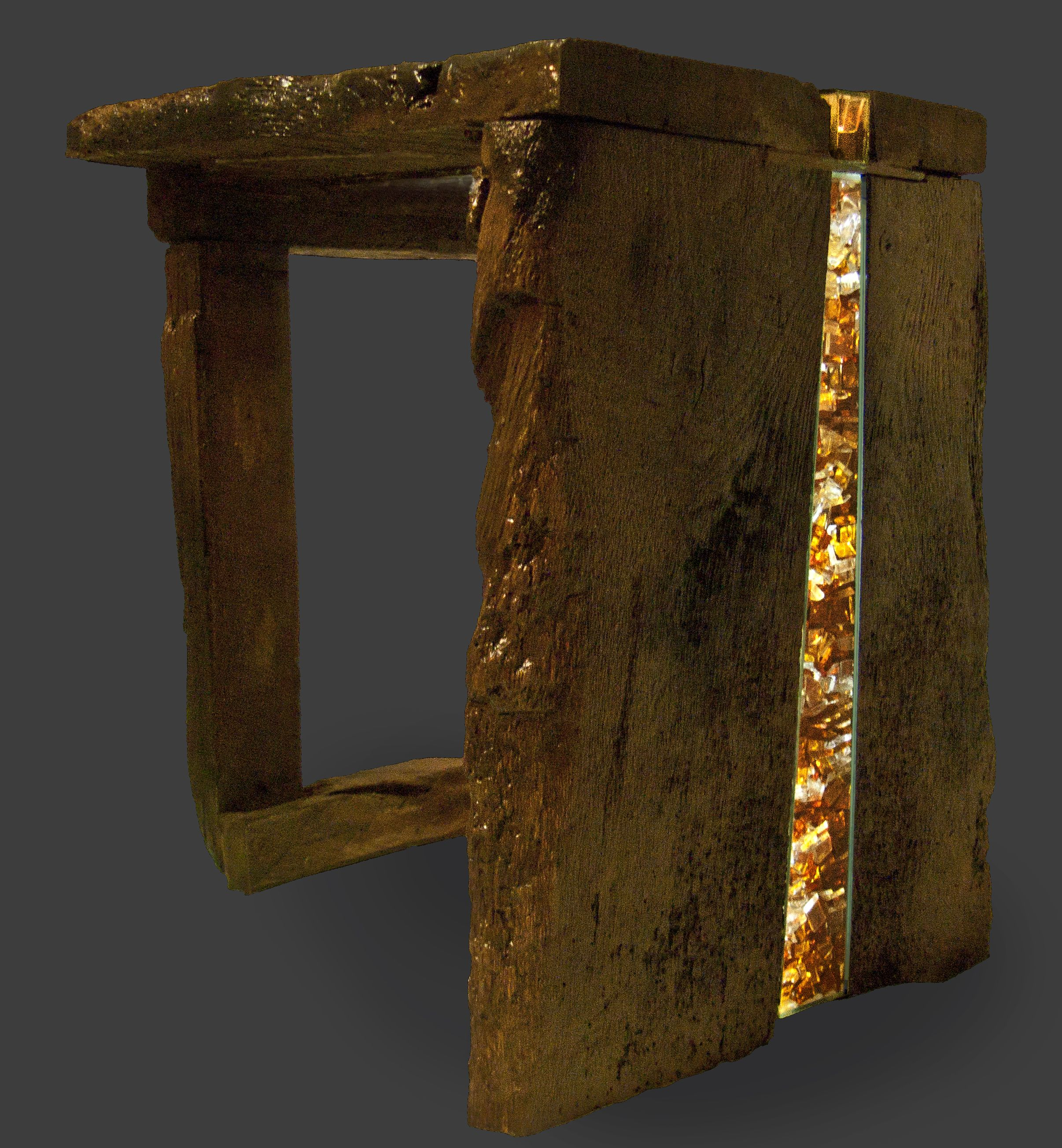 Ornamental Table of old oak wood with glass and led