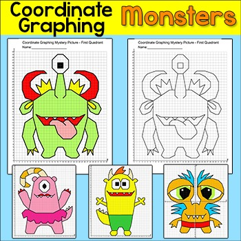 Monsters Coordinate Graphing Pictures Ordered Pairs Coordinate Plane Activity Coordinate Graphing Pictures Coordinate Graphing Coordinate Graphing Mystery Picture