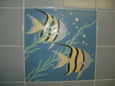 Decorative Tile Designs A Mid Century Bathroom Featuring Vintage Decorative Tiles From