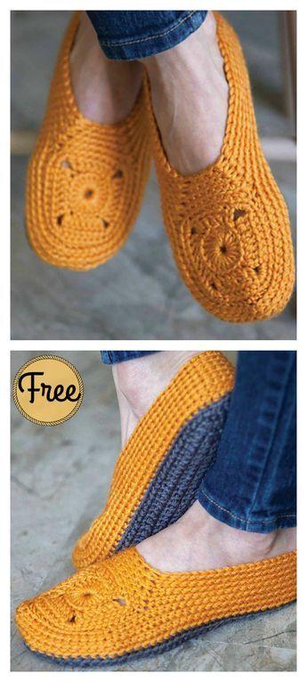 Sweet Granny Square Slippers Free Crochet Pattern | Handarbeiten