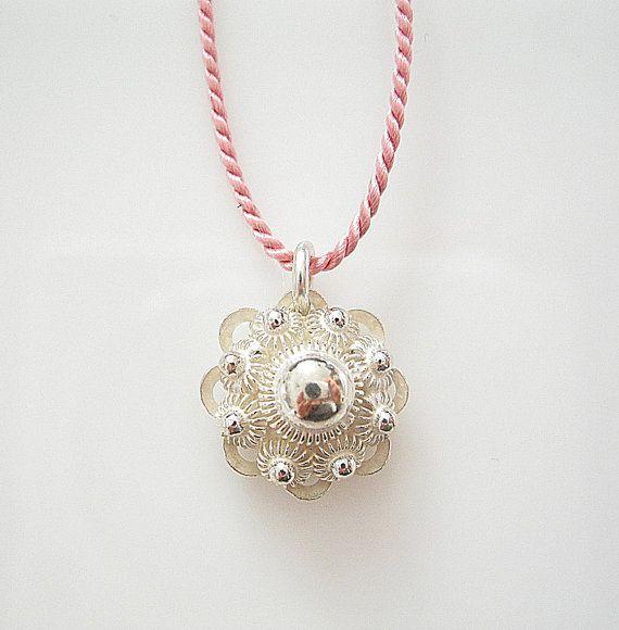 "Silver Charm ""Zeeuwse knop"" on Pink Silk Cord, fine silver jewelry, silver flower, Dutch Design Jewelry"