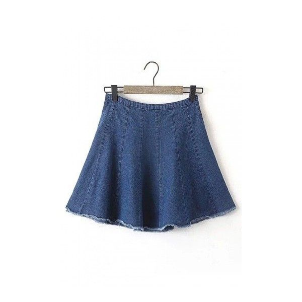 Cutoff Denim Skirt ($24) ❤ liked on Polyvore featuring skirts, yoins, blue skirt, blue denim skirt, zipper skirt, knee length denim skirt and denim cut offs