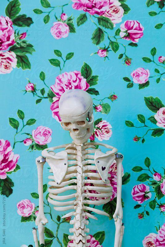 skeleton on flower wallpaper background