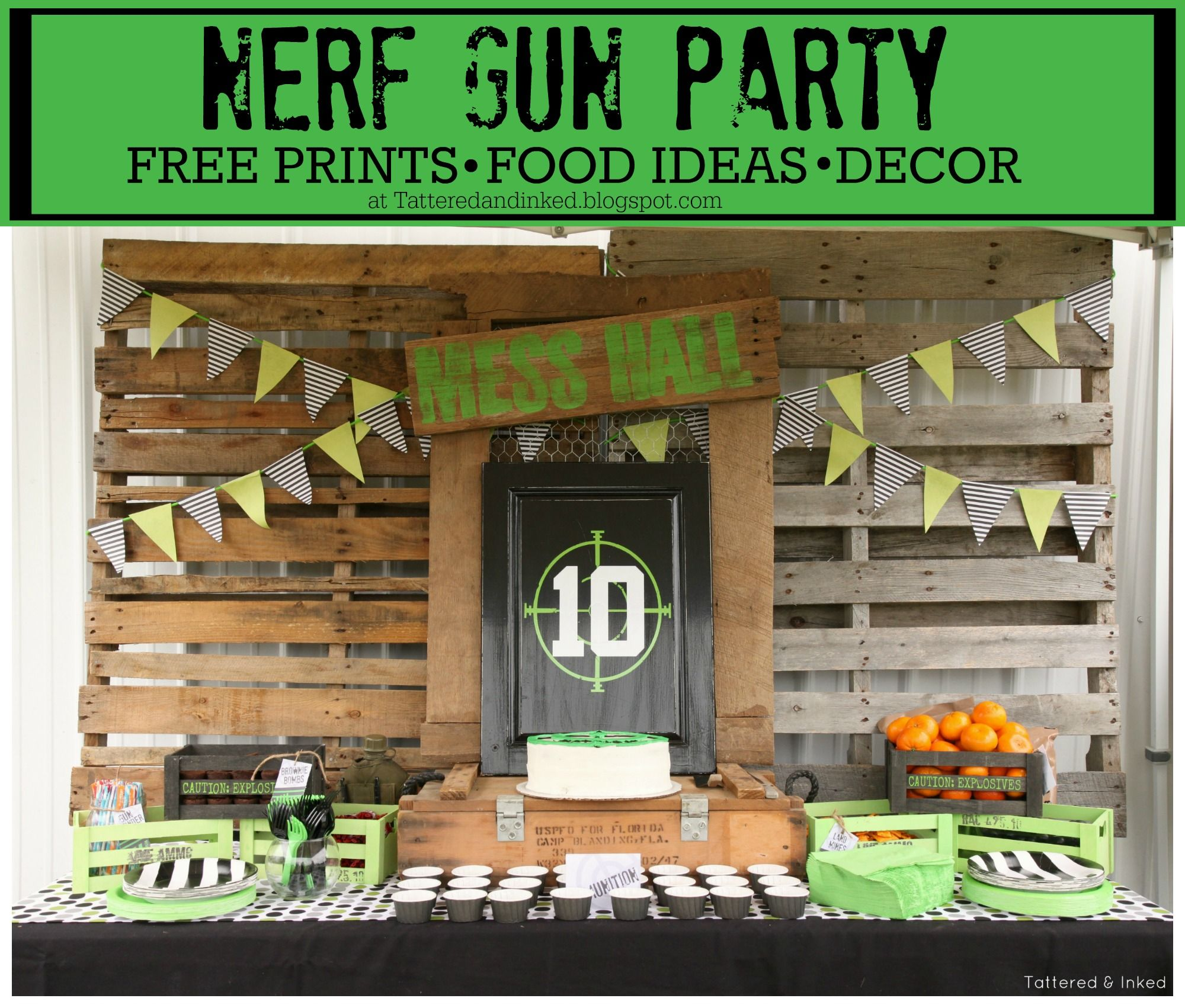Nerf Gun Party ideas- Nerf Food ideas- DIY obstacle course