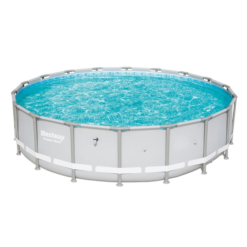 Bestway 18 Ft Round 48 In D Power Steel Frame Hard Side Above Ground Pool And Chemical Cleaning Kit 15441 Bw Qlc 42003 The Home Depot Round Above Ground Pool Swimming Pools Above Ground Pool
