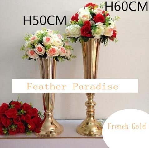 E Polished Metal Trumpet Vases Wedding Centerpieces French Gold