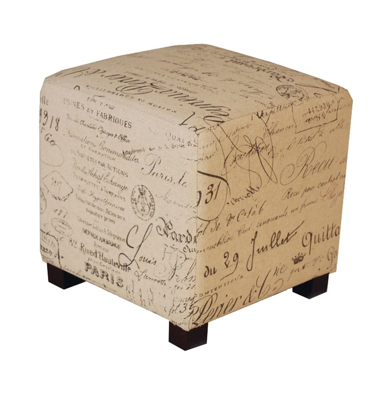 Puff Tapizado De Estilo R Stico Con Letras Marrones Pouf World  # Muebles Puffs Baratos