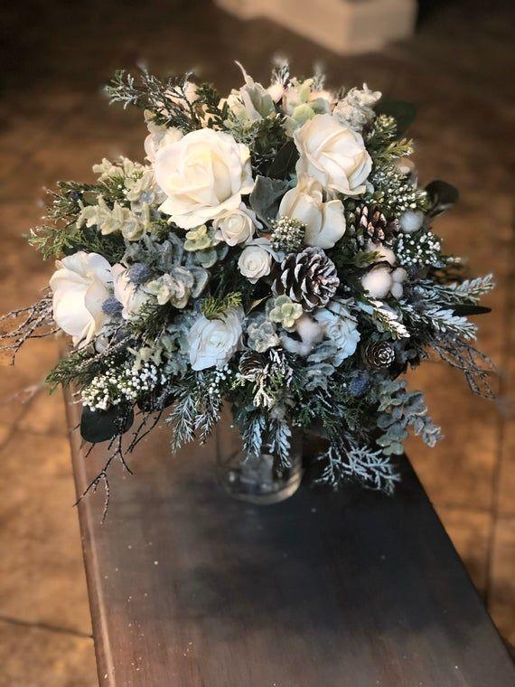 Winter Bridal Bouquet, Brides Bouquet, Boho Bouquet, Vintage Bouquet, Elegant Bouquet, Rustic bridal #whitebridalbouquets
