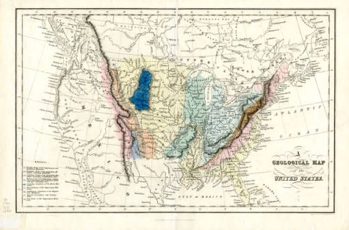 Geological Map of the United States 1832 New Mexico Waters