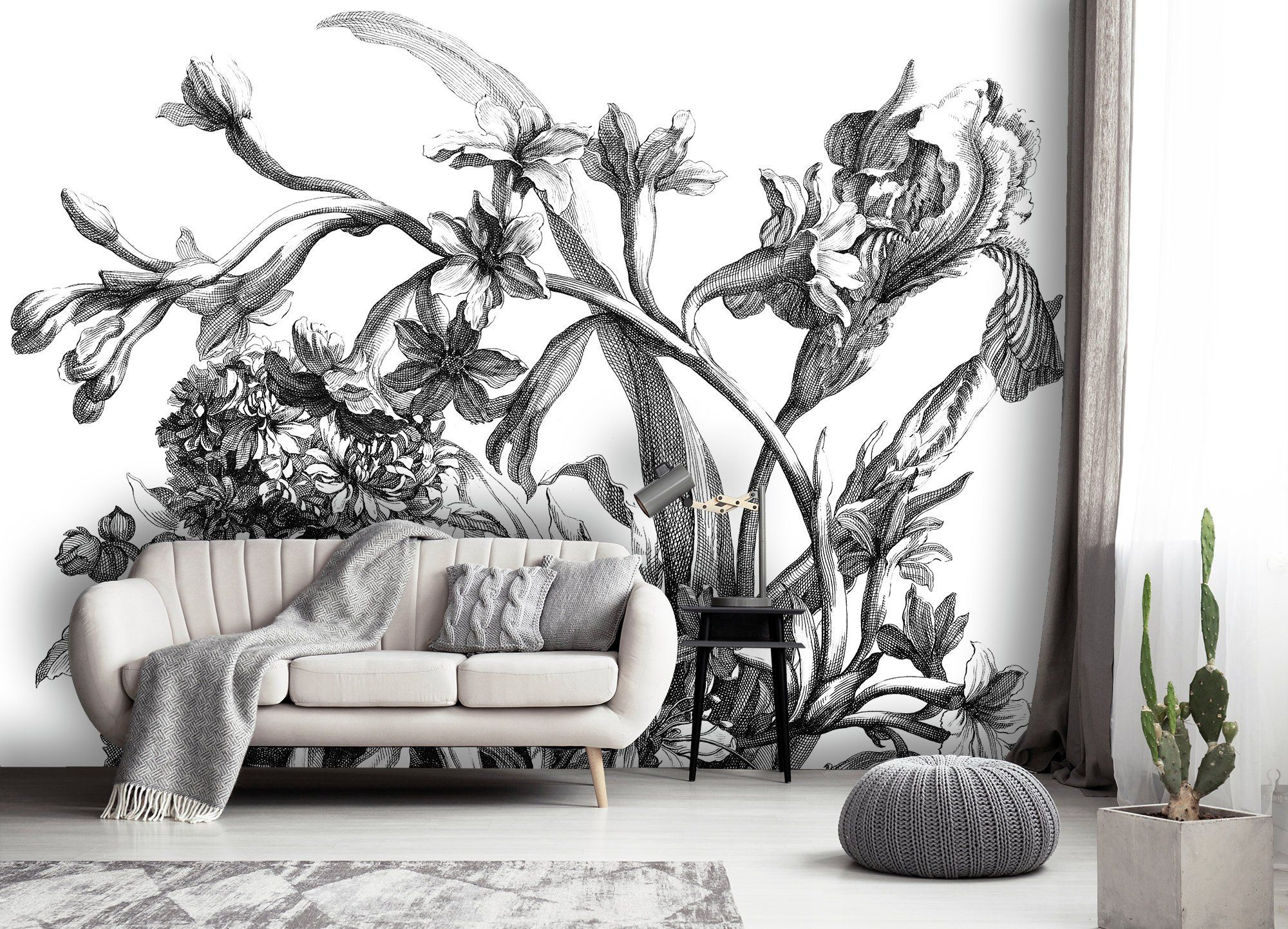 Black and white flowers, removable wallpaper, dutch floral