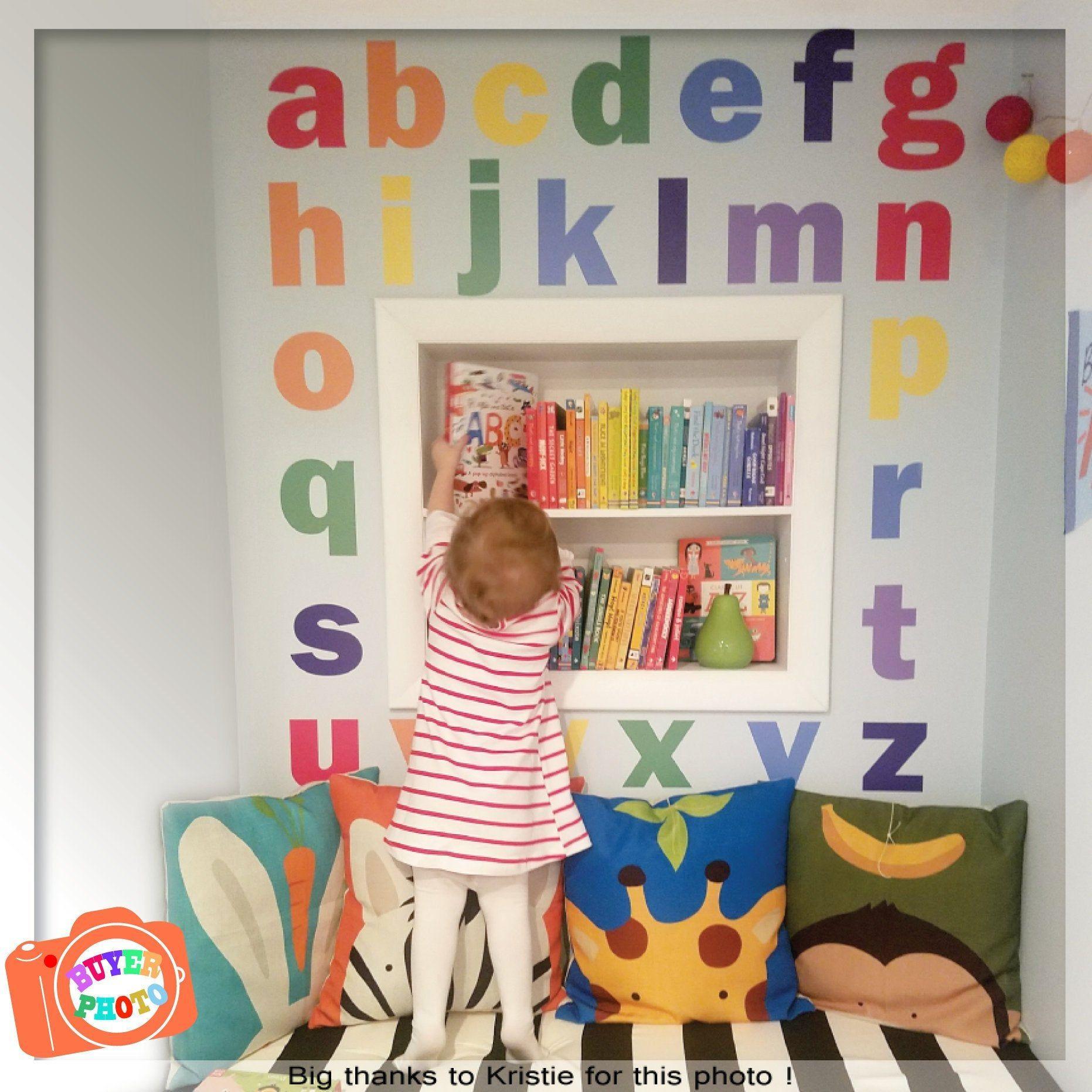 Alphabet Wall Decal Nursery Wall Decal Rainbow Alphabet Wall