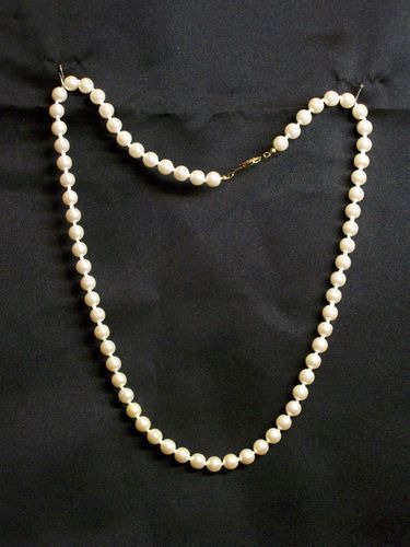 Vintage Faux 8 mm Pearl Single Strand 24 in. Long Necklace Knotted with Clasp