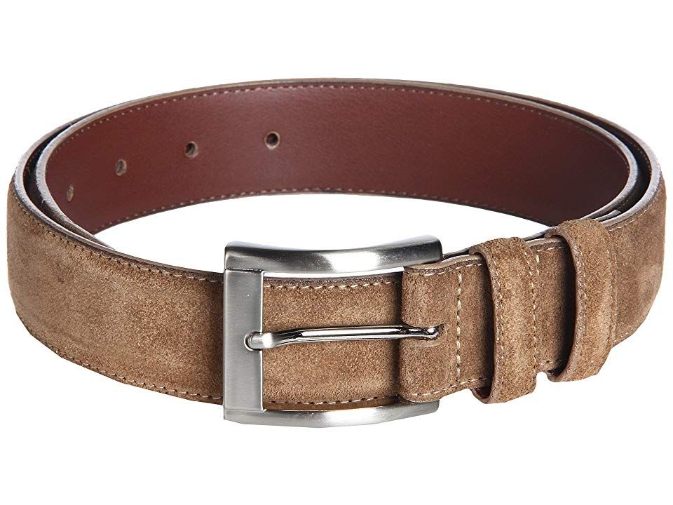 Torino Leather Co Mens Ital Calf Suede Brown Belt