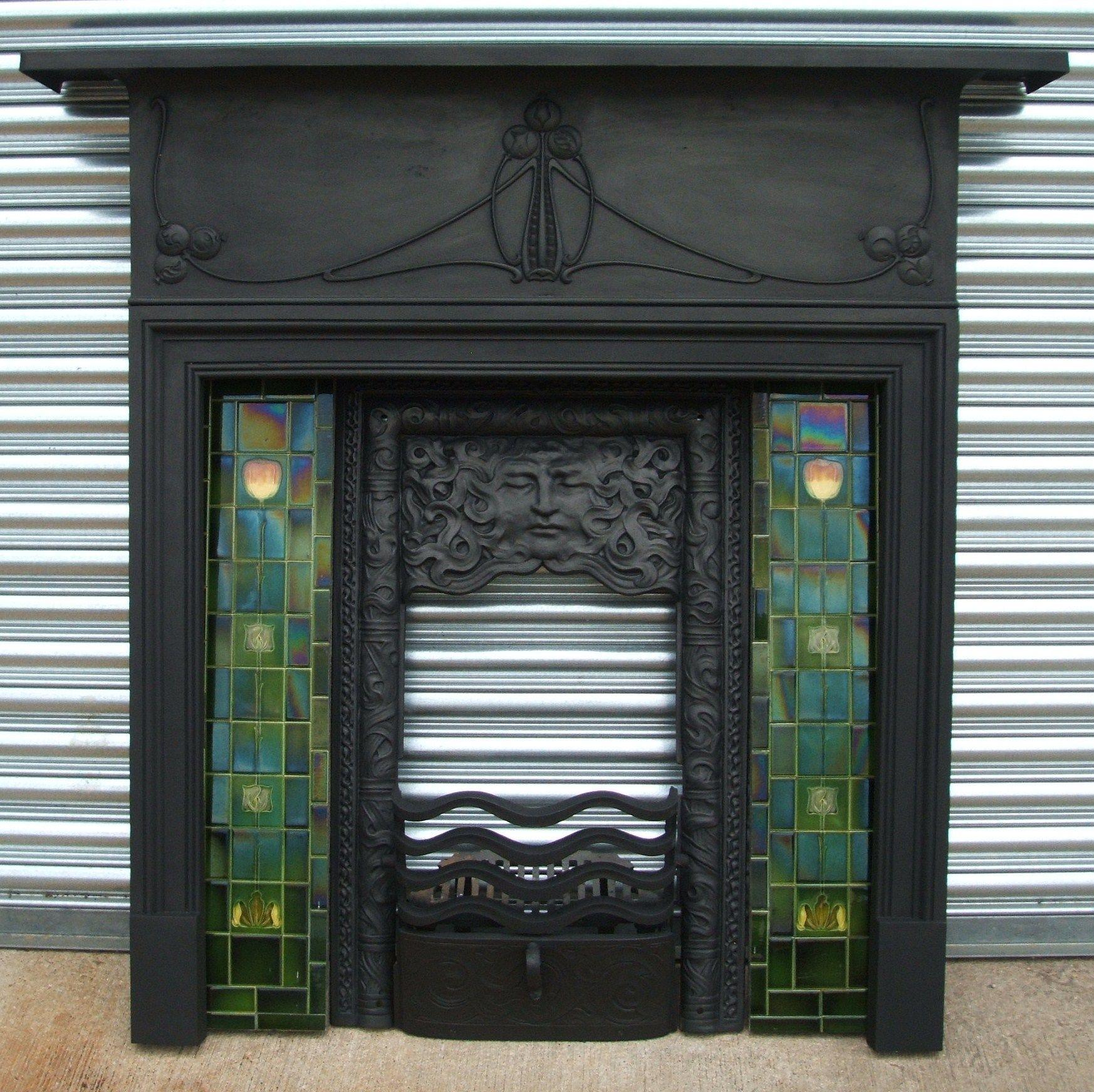Fancy Black Fireplace Face Ornamental Great Antique