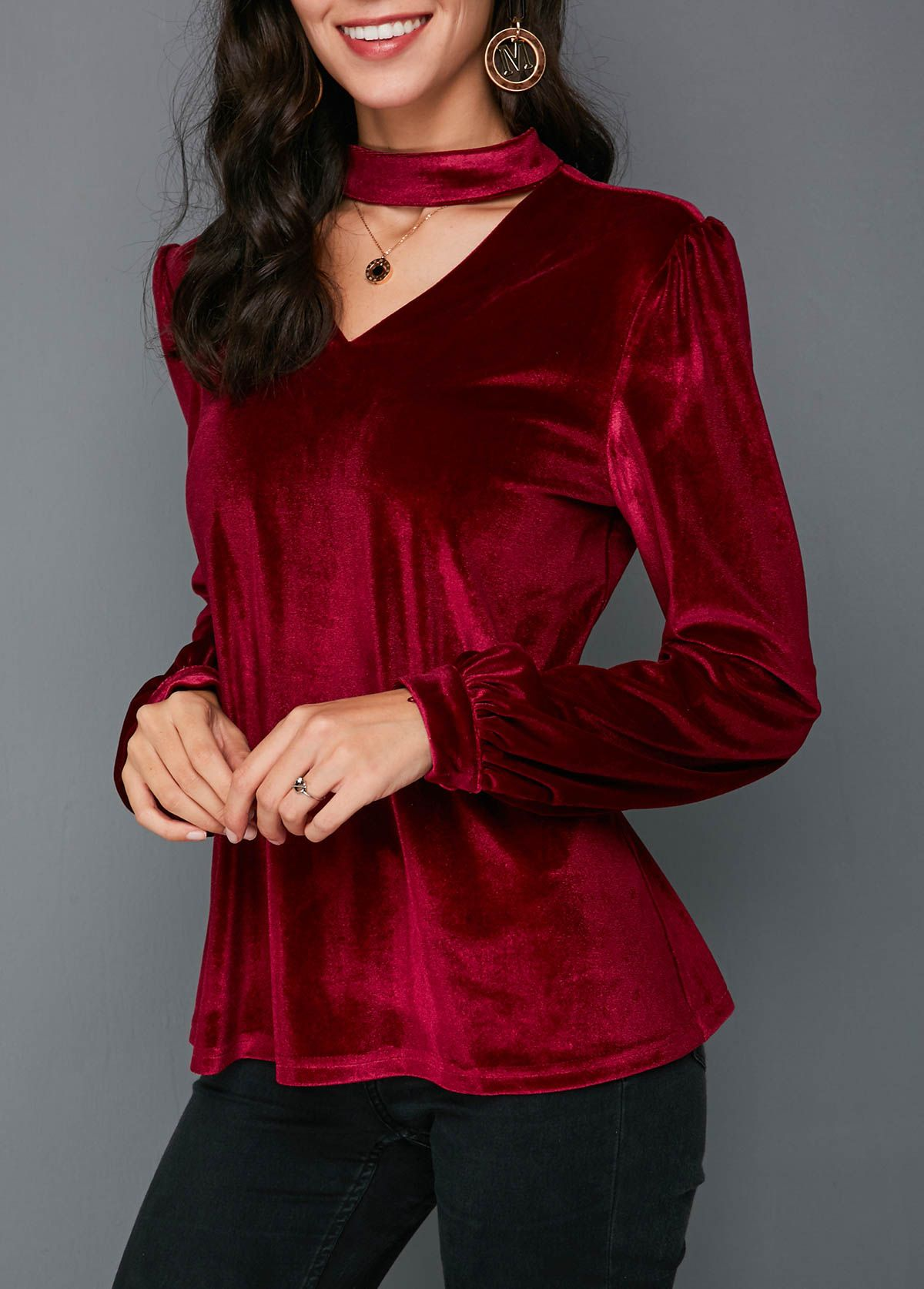 Long Sleeve Keyhole Back Velvet Blouse Trendy Fashion Tops Velvet Clothes Stylish Tops For Girls