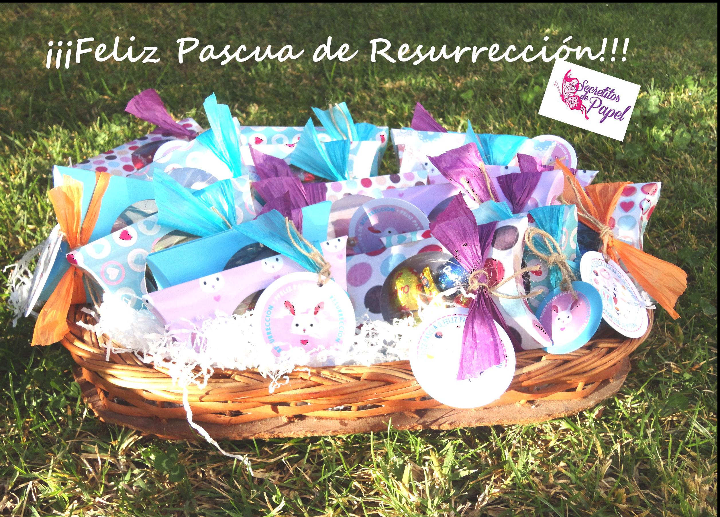 Regalo creativo de Pascua de Resurrección. Cajita con llamativos colores y etiquetas referidas al Conejito de Pascua, rellena con huevitos de chocolates para los niños y huevitos de caramelos y almendras para los más adultos,