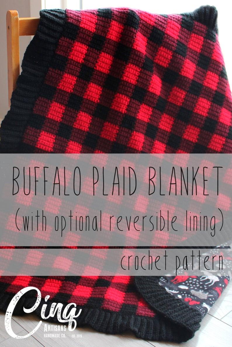 Buffalo Plaid Baby Blanket Buffalo Check Gingham Crochet Pattern With Optional Reversible Lining Baby Blanket Crochet Pattern Buffalo Plaid Baby Blanket Crochet Blanket Patterns