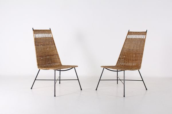 Low Rattan Steel Chairs 1950s Set Of 2 Mid Century Design In