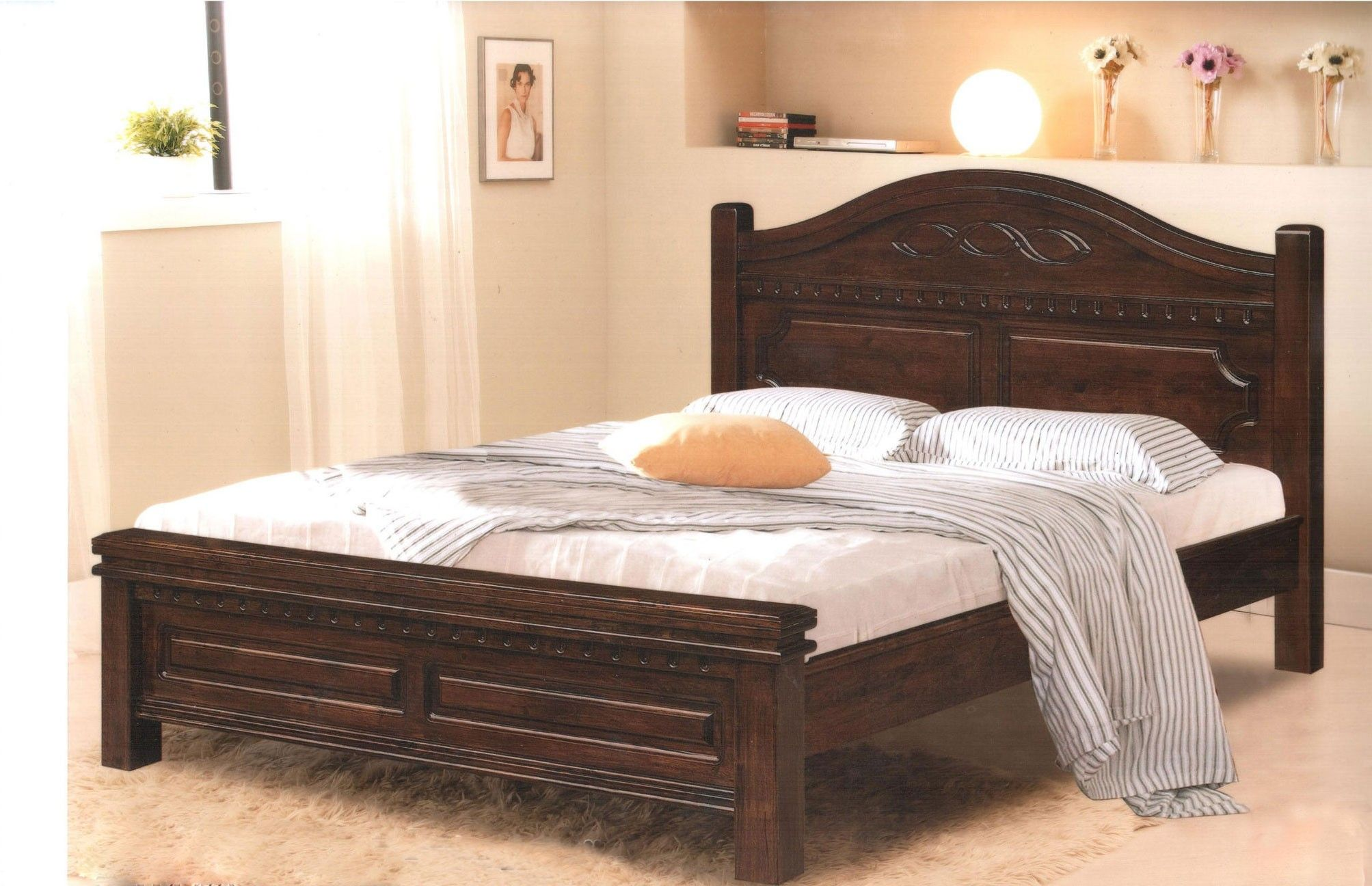 Elegant Full Size Wooden Bed Frame With Headboard In 2020 Bed