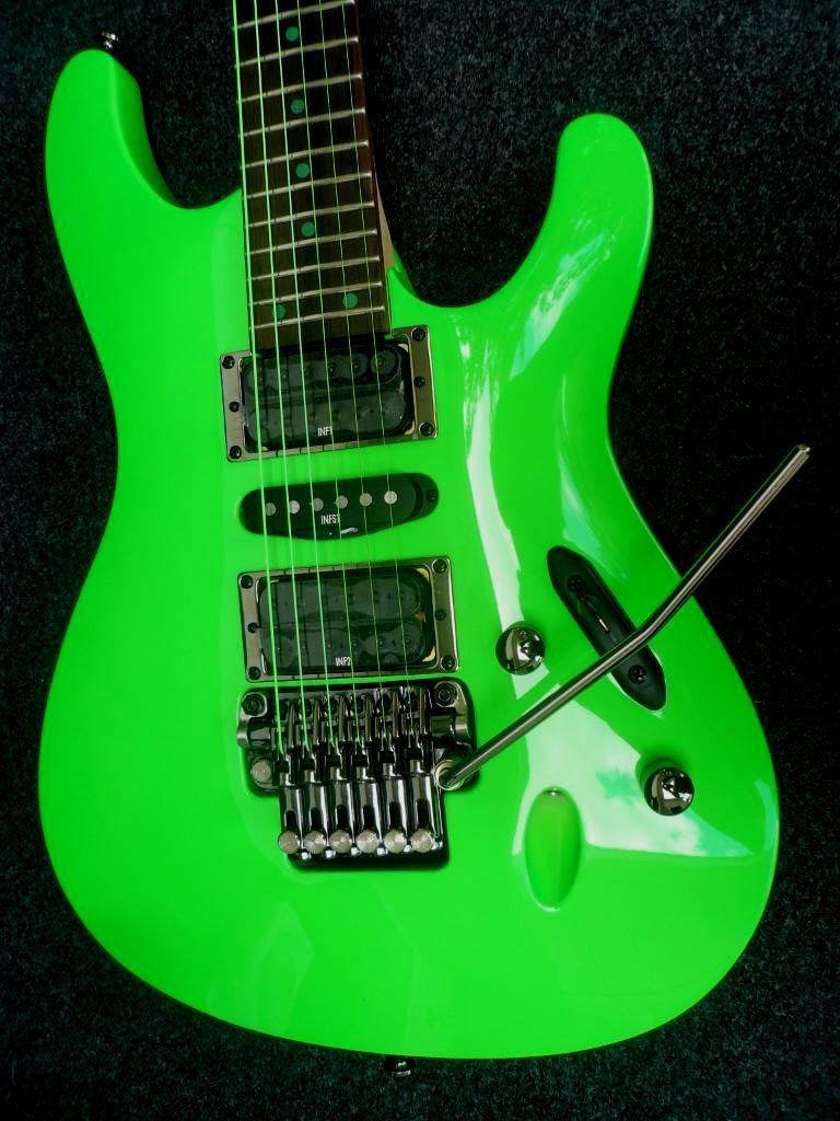 ibanez 25th anniversary s1xxv fluorescent green green guitar guitar amp heavy metal guitar. Black Bedroom Furniture Sets. Home Design Ideas