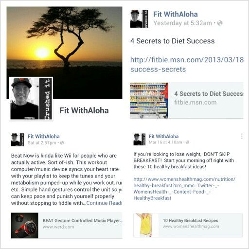 I created a new Facebook account named Fit WithAloha where I'll post Health & Fitness