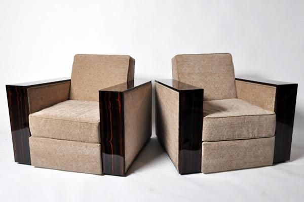 A Pair of Oversize Lounge Chairs with Thick Armrest, Walnut Veneer, Hungary, New