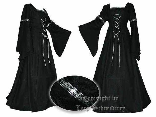 Maxikleider - Gothic Mittelalter Gewand Larp Kleid Leinen - ein Designerstück von Mittelalter-Schneiderei bei DaWanda