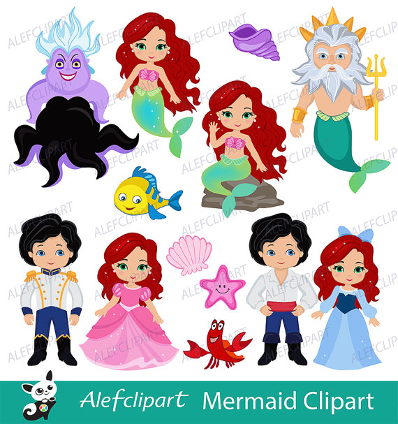 35+ Little mermaid characters clipart info