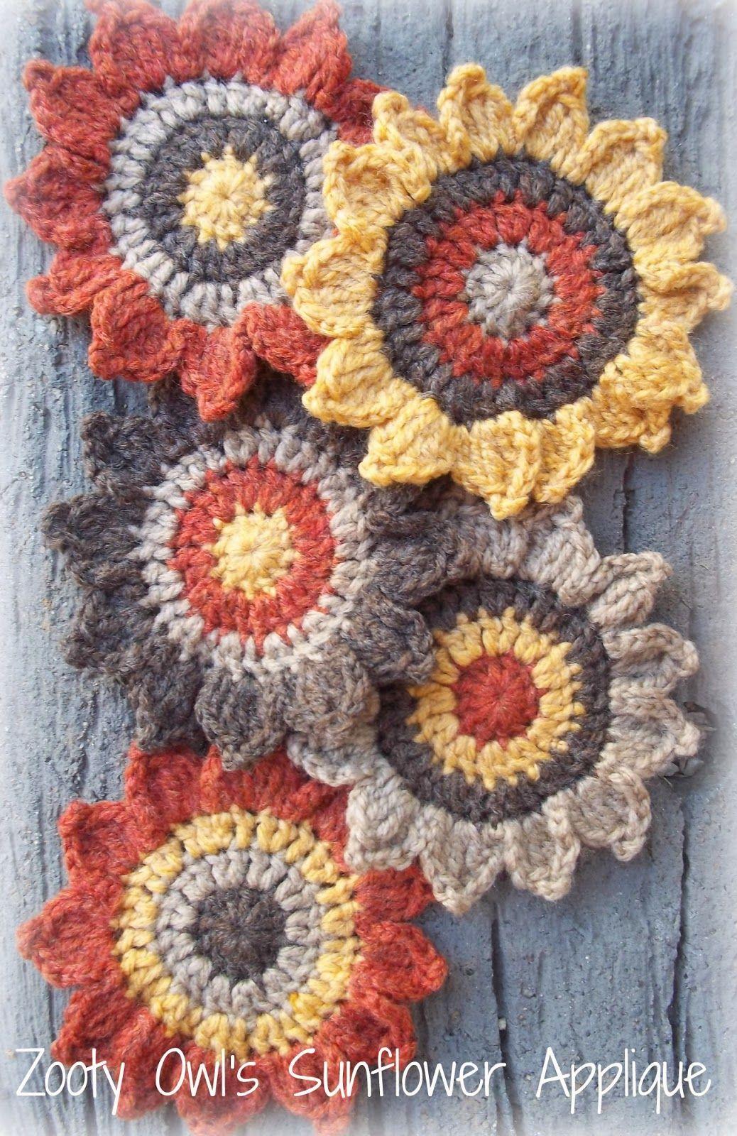 Crochet Sunflower Applique Pattern - free pattern link to Ravelry ...