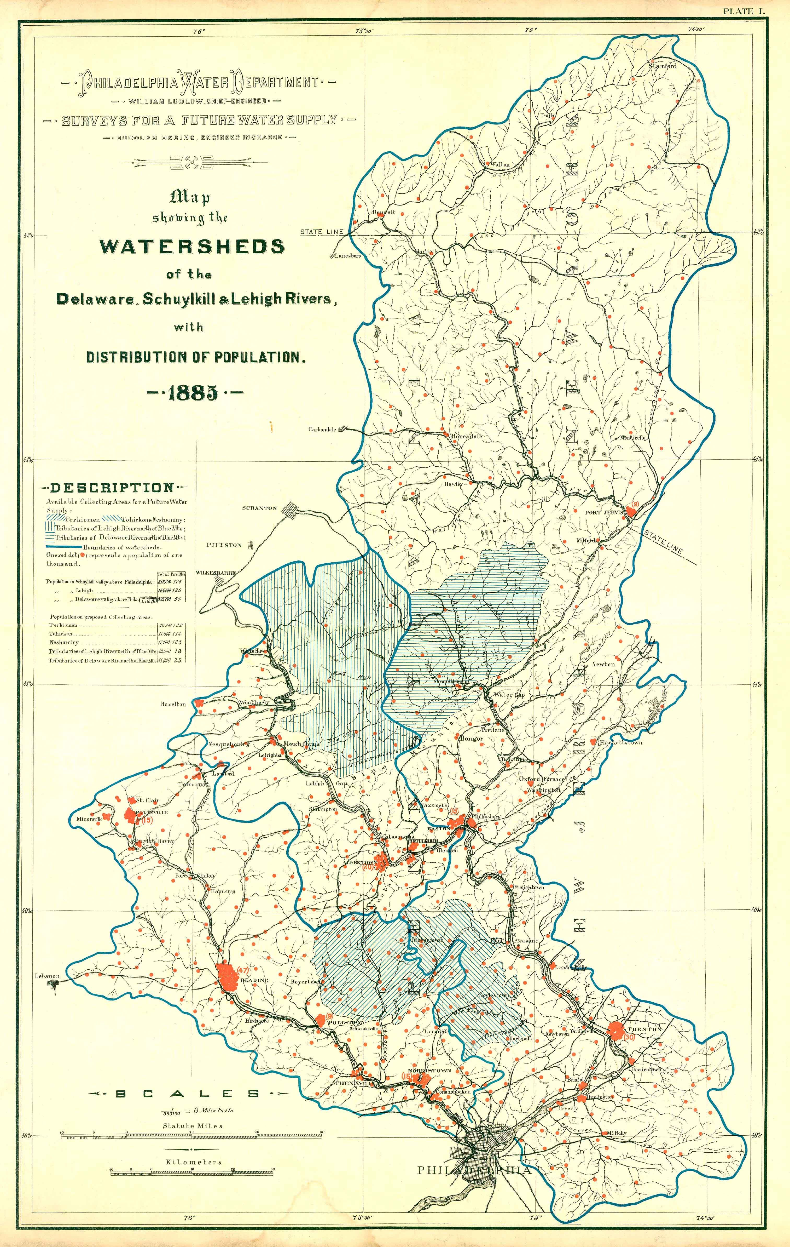 Map showing the watersheds of the Delaware, Schuylkill and Lehigh ...