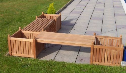 L Shape Benches With Planters Teak Garden Bench Garden Bench Wooden Garden Benches