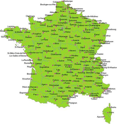 Carte Des Villes De France Carte De France Ville Ville France Carte De France