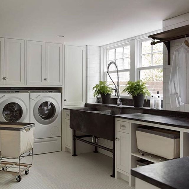 My Favorite Laundry Room Soapstone Sink Subway Tile Lots Of Space To Fold And Iron Laundry Room Sink Mudroom Laundry Room Laundry Room Inspiration