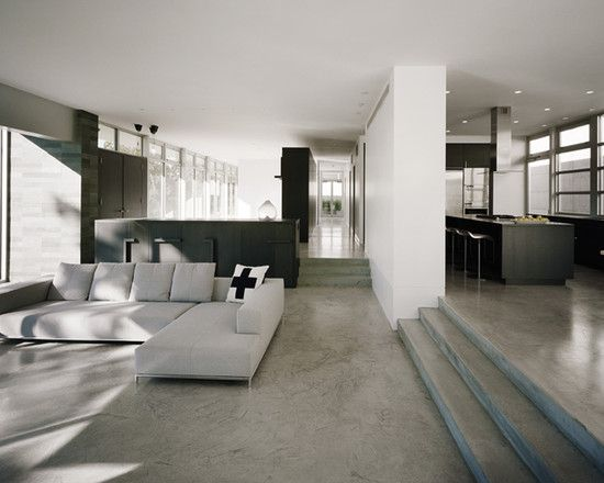 Awesome ideas of concrete flooring in homes modern living - Inexpensive flooring ideas for living room ...