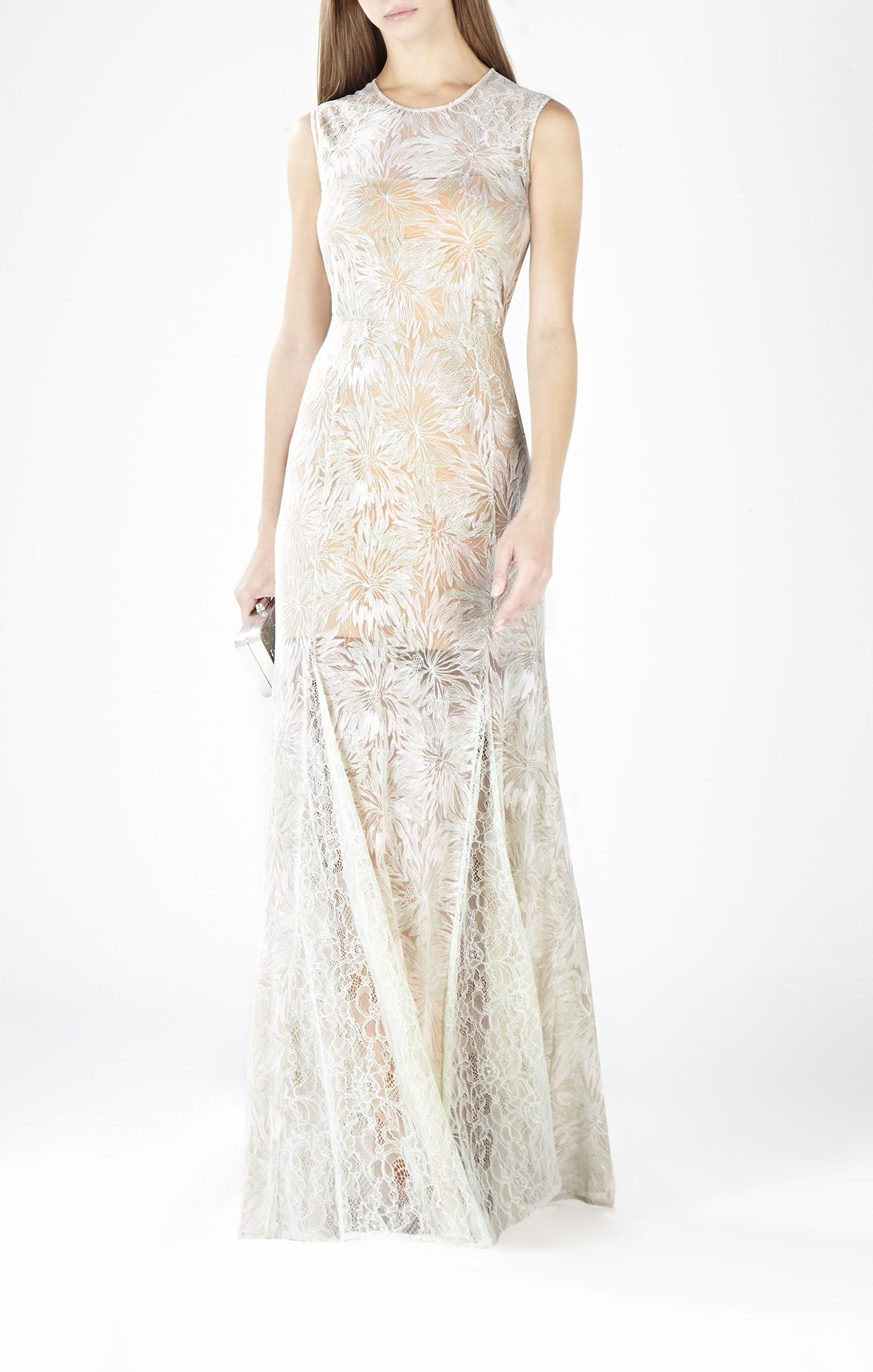 Marlyn roundneck lace gown bcbg minimal bride