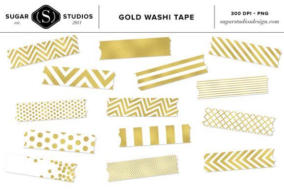 Gold Foil Washi Tape Clip Art Set Gold Foil Washi Tape Clip Art Art Set