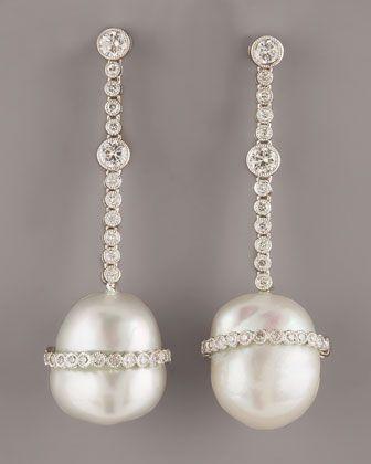 Assael Pavé Diamond & South Sea Baroque Pearl Drop Earrings wIOYihXO