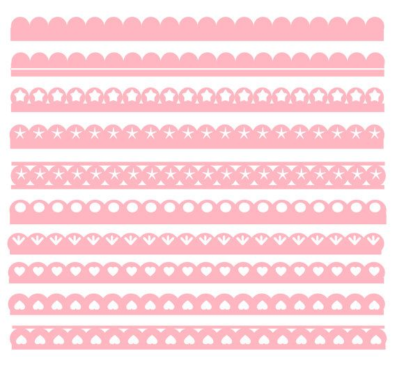 10 Pink Scallop Border Vectors In Svg By Inkpower On Etsy 1 99 Scrapbook Albums Scrapbook Etsy